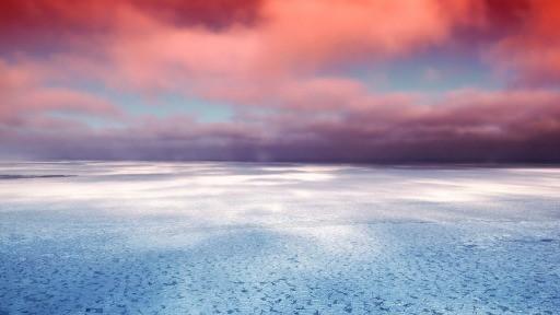 Red Sunset Over Sea Header Subheader