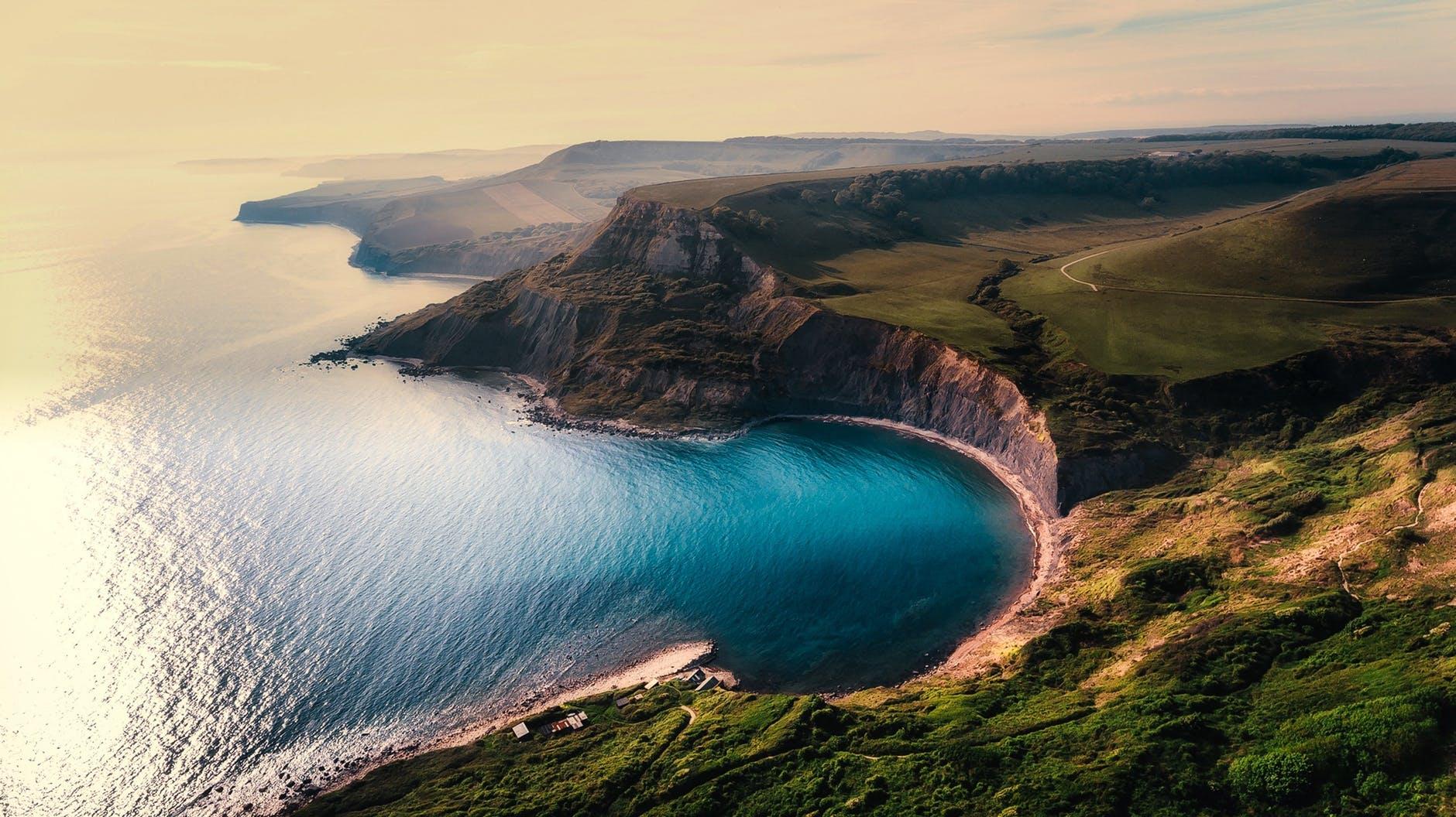 aerial view beach beautiful cliff