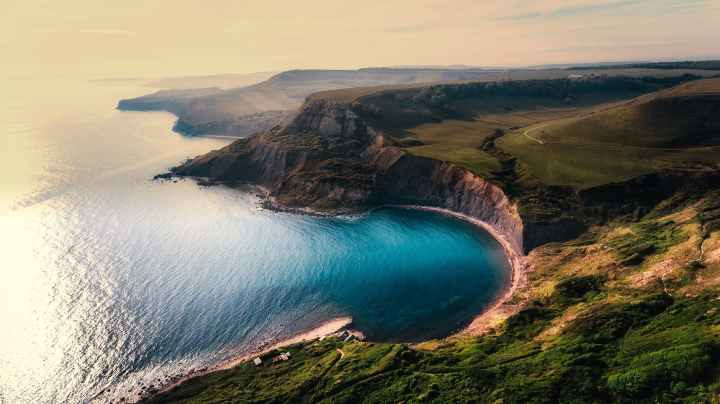 aerial view beach beautiful cliff