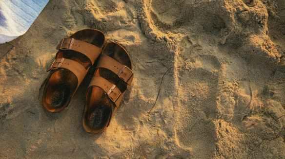 pair of brown footbed sandals